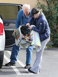 Anna Faris held baby Jack Pratt in his car seat.