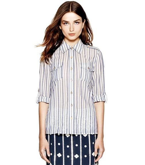 Tory Burch's Brigitte Blouse ($195) is subtle enough to be paired with another printed piece.
