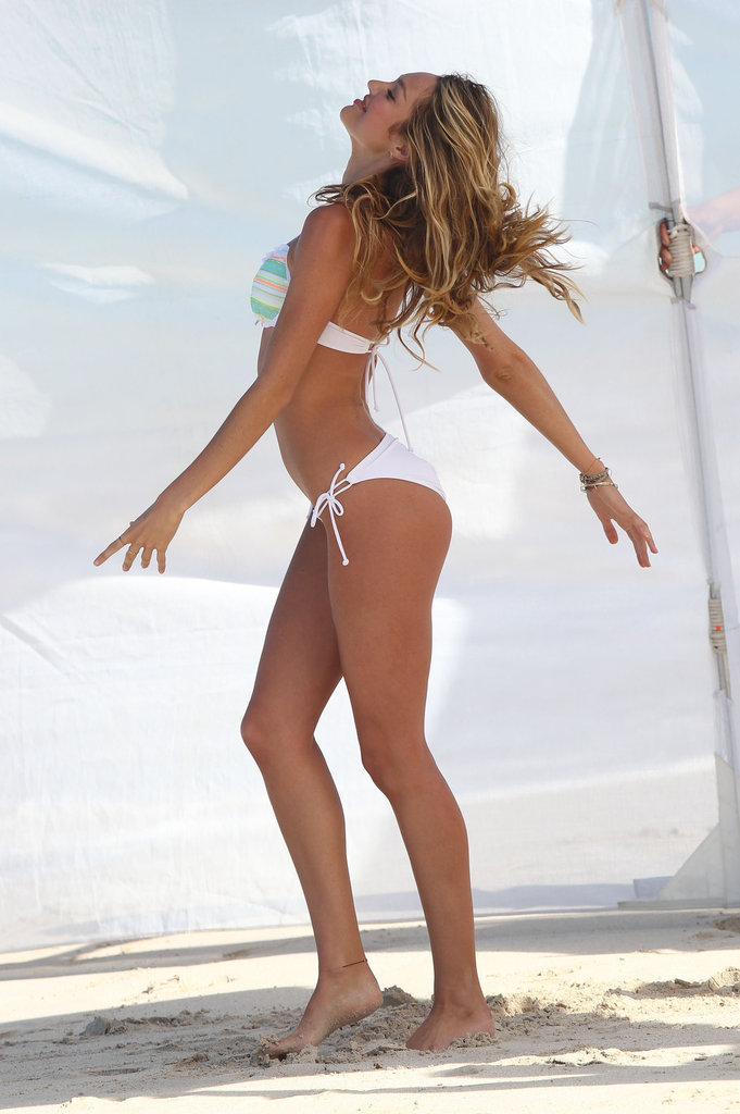 Candice Swanepoel struck a sexy pose during a photo shoot in St. Barts.