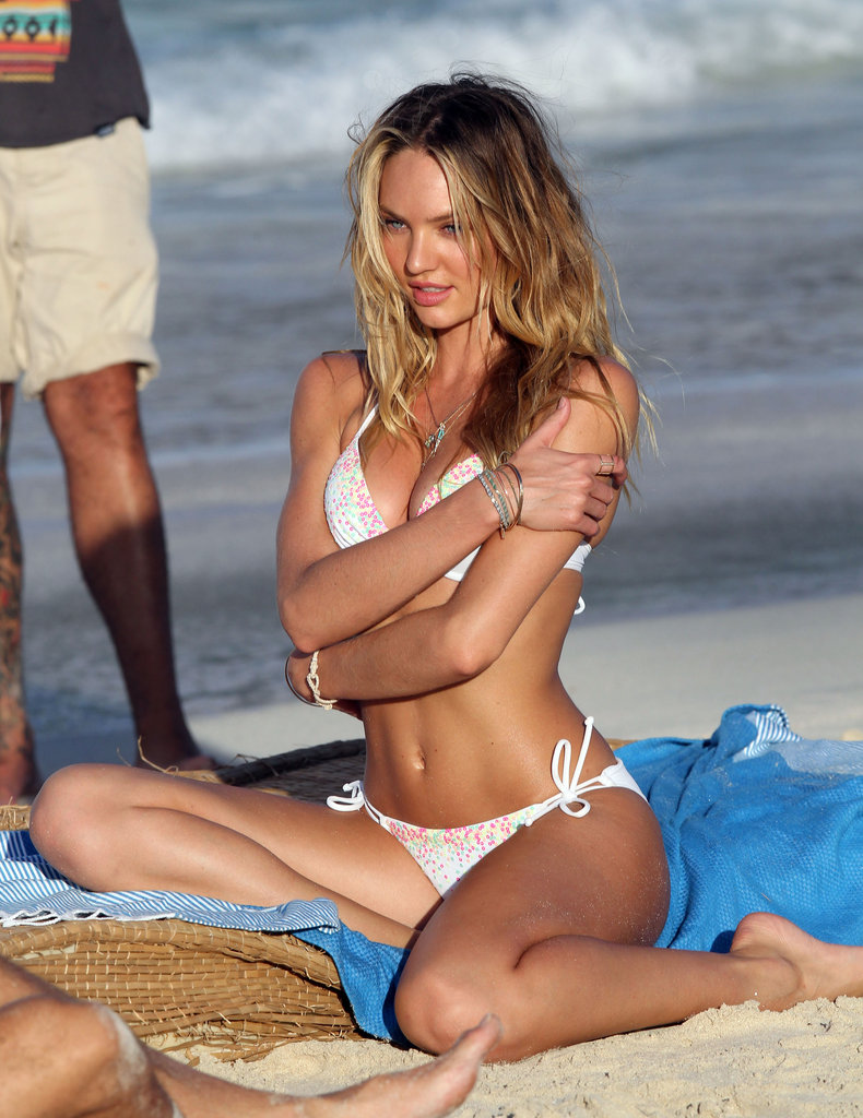 Candice Swanepoel got sexy on the beach in St. Barts.