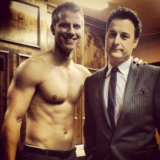 Chris Harrison shared a photo of himself with shirtless Bachelor star Sean Lowe. Source: Twitter user chrisbharrison
