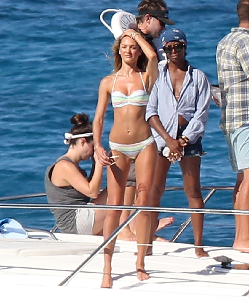 Candice Swanepoel posed on a yacht during her photo shoot.