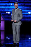 Justin paired his grey suit with a silver metallic tie at the 2011 ESPY Awards.