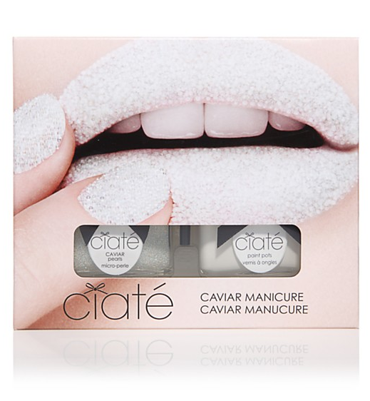 Treat the beauty junkie in your life with this super cool Ciaté caviar manicure set in mother of pearl ($25).