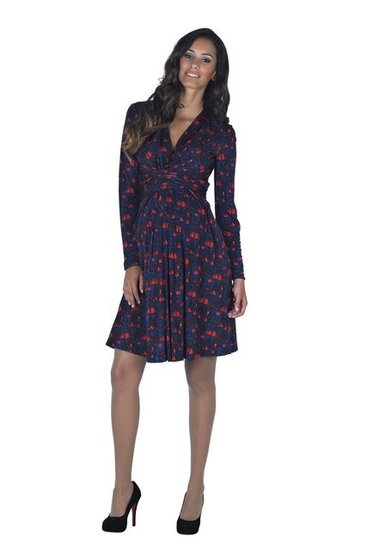 Issa Printed Mock Wrap Dress