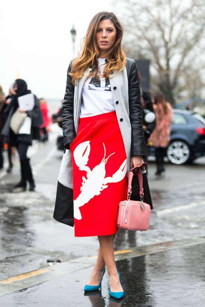 Layers up top didn't detract from this bold, bright crustacean skirt by Tibi. Source: Adam Katz Sinding