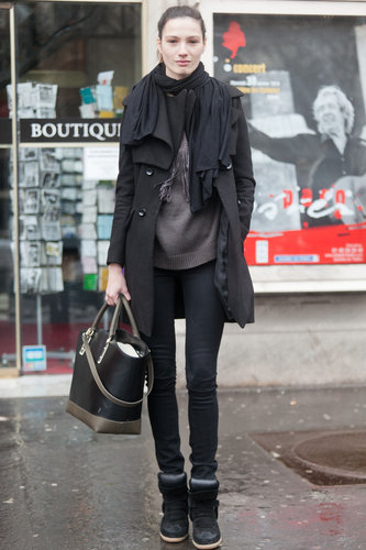 All-black with a sporty twist, thanks to cool-girl high-tops. Source: Adam Katz Sinding