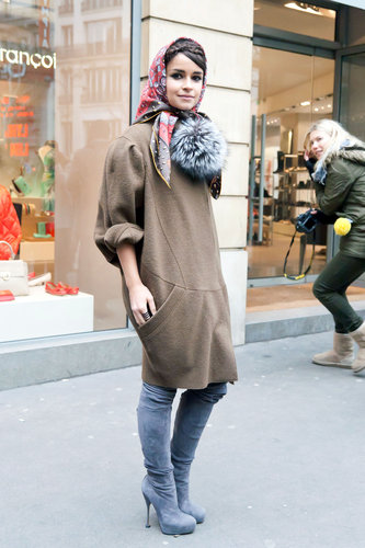 Miroslava Duma proved her street-style prowess, even in colder temps, with a sweater dress and gorgeous suede boots. Source: Adam Katz Sinding