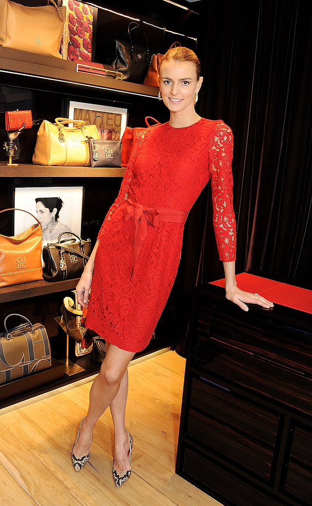 Jacquetta Wheeler fused a red lace dress with sexy snakeskin pumps at a Carolina Herrera event in London. We now love red with snake print, too.