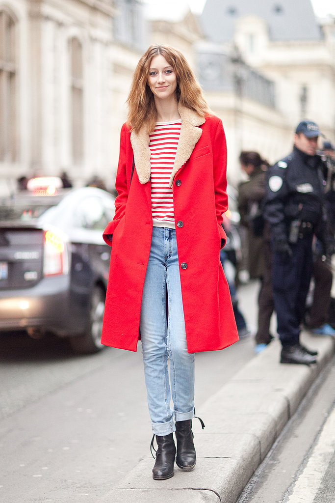 Cheery outerwear (and color-coordinated stripes) made us take notice of this laid-back denim look. Source: Le 21ème | Adam Katz Sinding