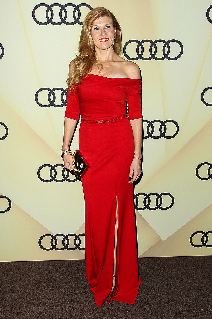 "On what the process of picking finishes and fabrics is really like: ""Material direction is instinctive, and I like to make sure it reflects the inspiration behind the collection. One of the most challenging and fun parts of the design process is creating unexpected combinations of materials and colors."" Pictured here, Connie Britton carried the designer's gold Meteor clutch (available for preorder) to Audi's Golden Globes kickoff party."