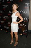 Stacy Keibler attended the Audi Celebrates the Super Bowl event solo Friday night.