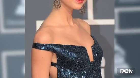 Taylor Swift Sparkles in Kaufman Franco Off-the-Shoulder Sequin Dress