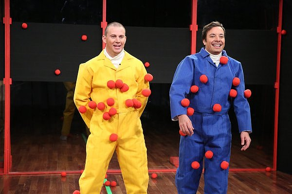 Channing Tatum and Jimmy Fallon smiled after goofing around Thursday night.