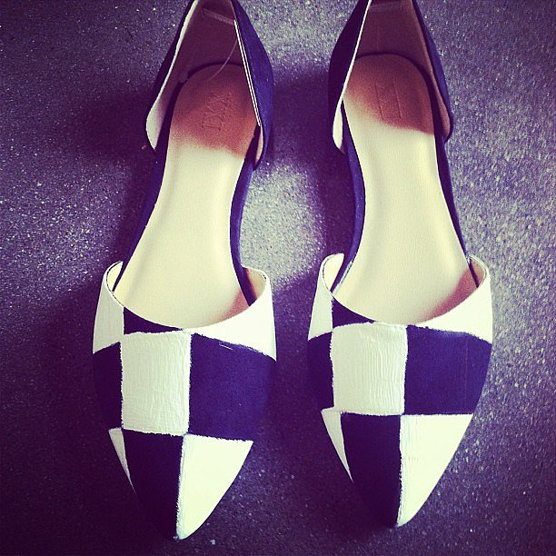 A sneak peek at our upcoming DIY: checkerboard-print shoes like Louis Vuitton's!