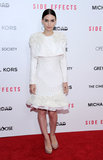 Rooney Mara drew all eyes in a creamy, embellished Alexander McQueen dress at her Side Effects premiere in NYC.