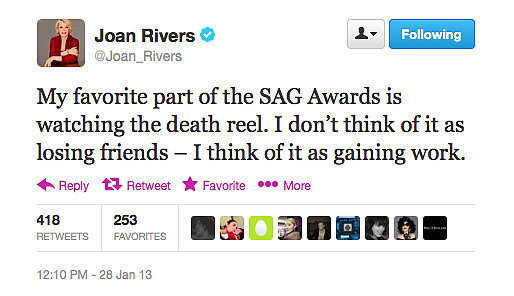 Joan Rivers whips out her special brand of humour at any opportunity.