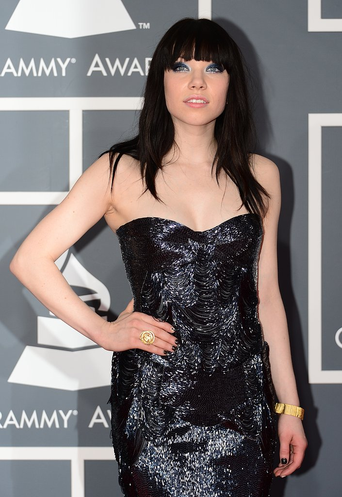 """Call Me Maybe"" singer Carly Rae Jepsen chose a shiny strapless gown for the Grammys."