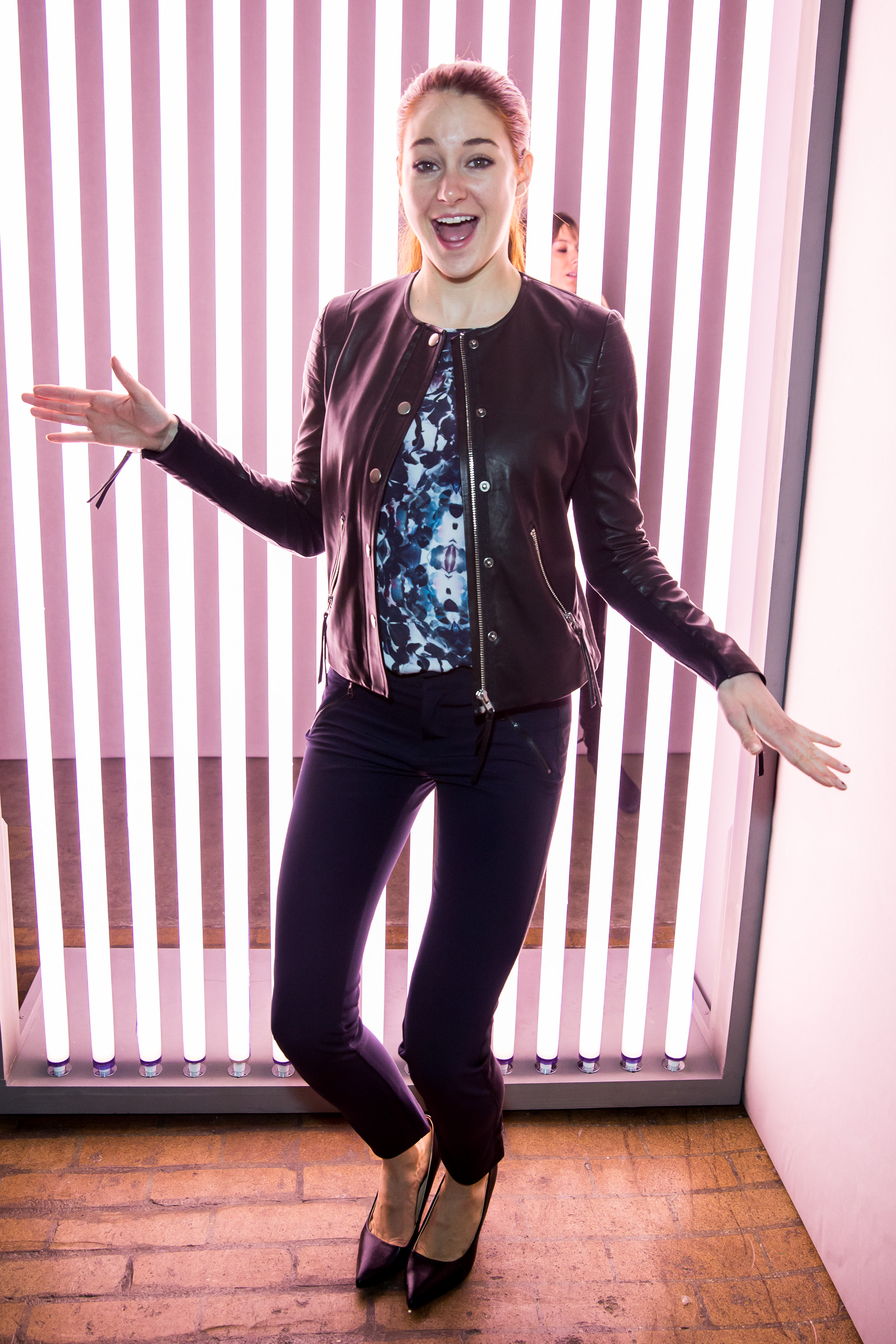 Shailene Woodley got goofy backstage Saturday at Rebecca Taylor.