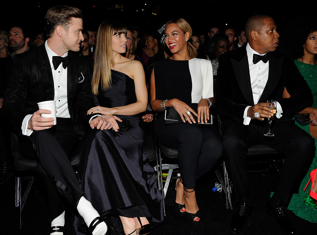 "Justin Timberlake and Jessica Biel sat front row with Jay Z and Beyoncé during the Grammys, just a few weeks after Justin and Jay Z met up in LA to film the video for ""Suit & Tie."" Jay Z isn't the only half of the couple Justin's working with, since Beyoncé revealed she and JT are also collaborating."