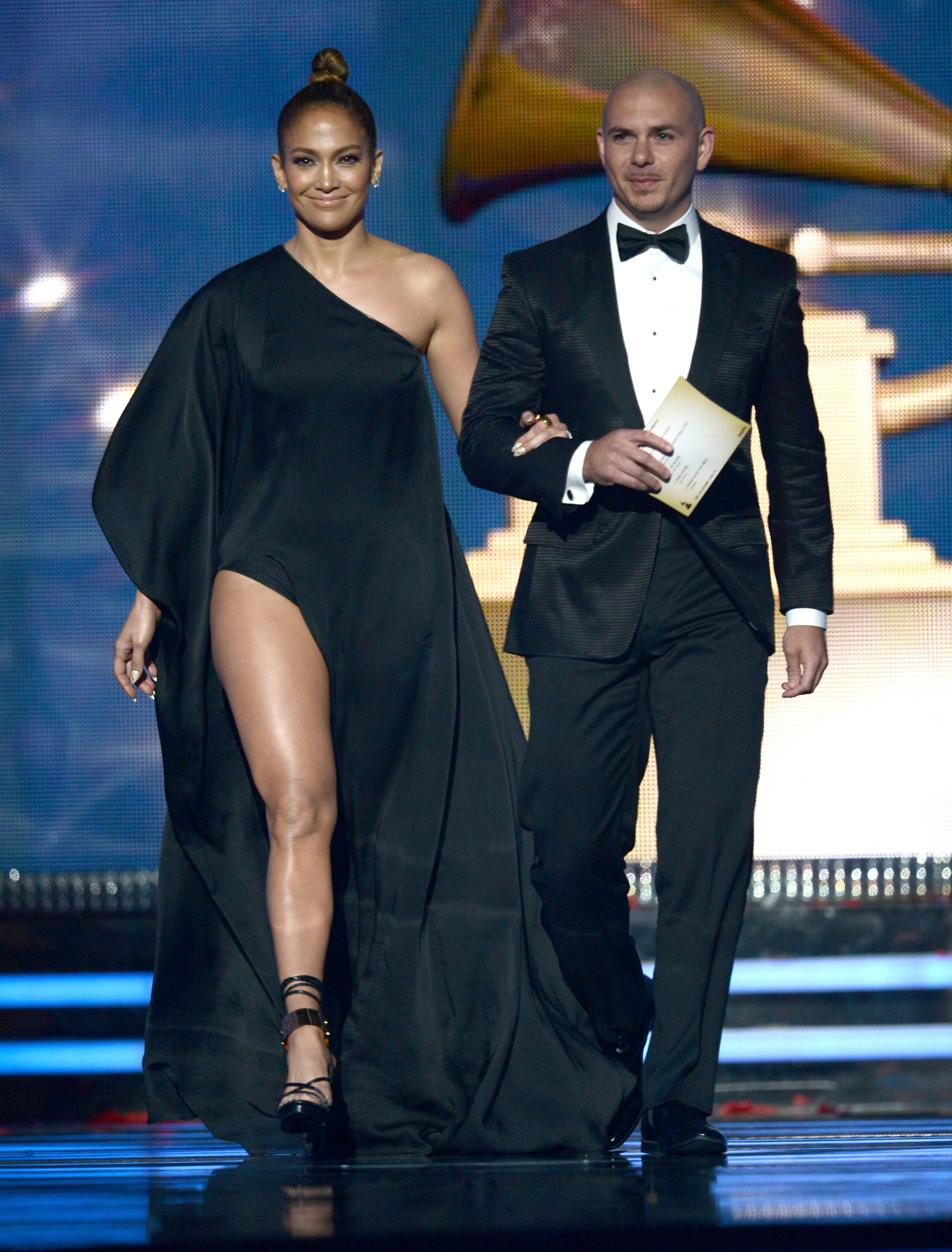 Jennifer Lopez and Pitbull presented together.