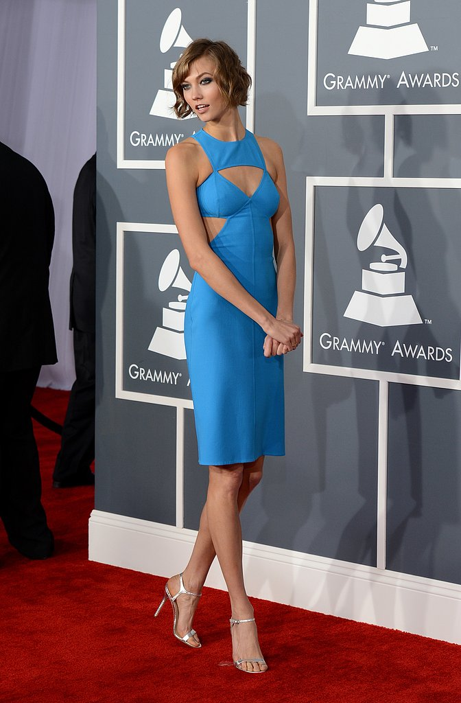 Karlie Kloss wore a blue Michael Kors dress for the Grammy Awards.