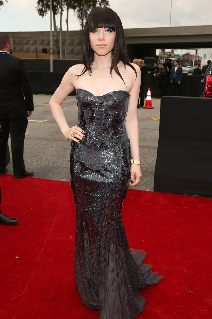 Carly Rae Jepsen donned a shimmery black dress.