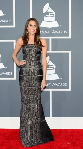Allison Williams opted for a Kaufmanfranco gown.