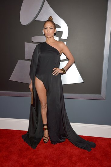 Jennifer Lopez showed lots of leg at the Grammys.