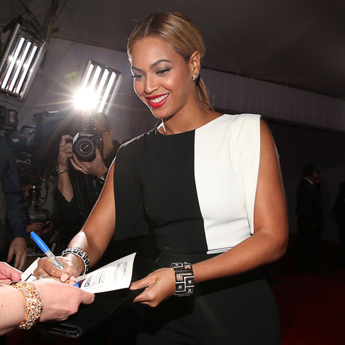 Beyonce Pictures in Black and White Jumpsuit at 2013 Grammys