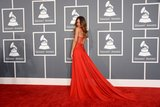 Rihanna posed for a glamorous shot in her red Azzedine Alaïa gown.