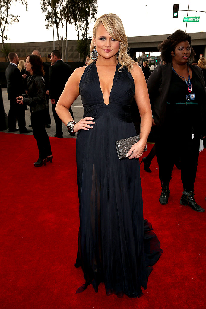 Miranda Lambert wore a revealing black Roberto Cavalli gown to the Grammys.