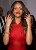 Rihanna showed off a bevy of baubles, her signature, with her red Alaïa gown.