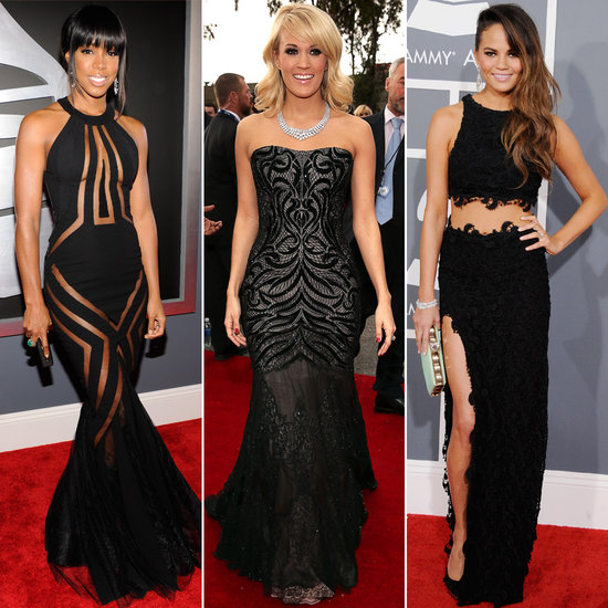Stars Swap Classic Black Dresses For Sexy Details at the 2013 Grammys