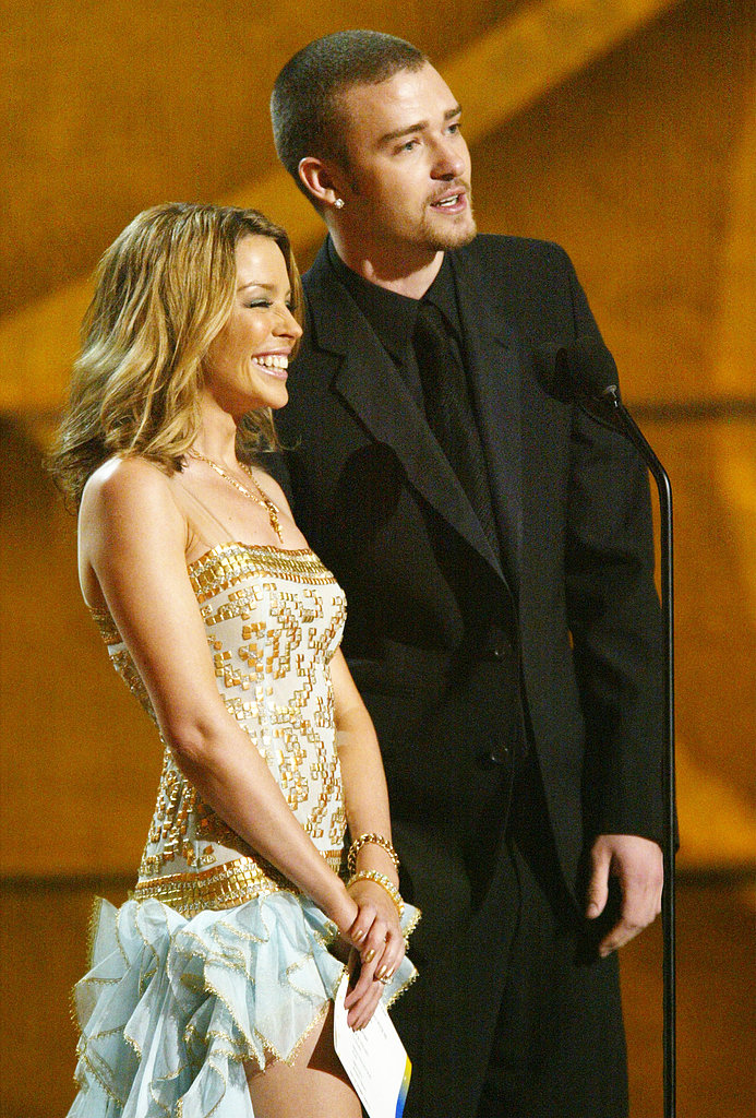 Justin presented with Kylie Minogue at the 2003 Grammys.