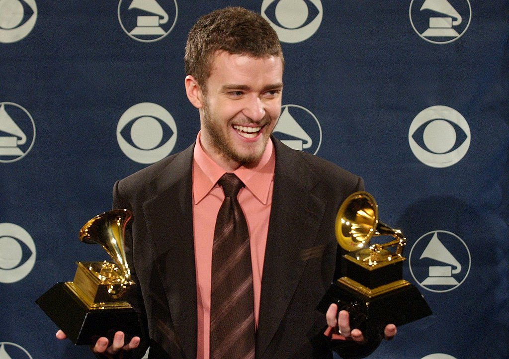 JT was all smiles holding his Grammys in 2004.