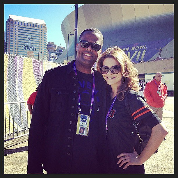 Maria Menounos and A.J. Calloway posed outside the Superdome. Source: Instagram user Extra