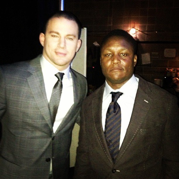 Channing Tatum presented the offensive player of the year award to Adrian Peterson at the NFL Honor Awards in New Orleans before the Super Bowl. Source: Instagram user channingtatumunwrapped