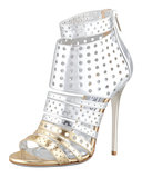 Add some edge to your LBD with these Jimmy Choo Malika Perforated Metallic Leather Sandals ($995).