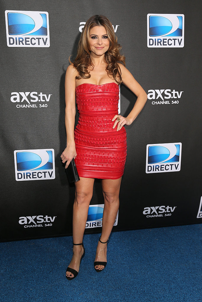 Maria Menounos chose a strapless bandage-like LRD, along with classic black accents, for the DirecTV Super Saturday Night party.