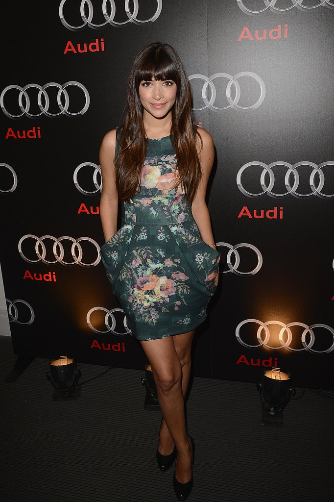 New Girl starlet Hannah Simone stepped out at the Audi Super Bowl party in a sweetly printed cocktail dress and black pumps.