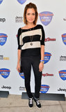 Torrey DeVitto showed off her casual style in a striped top, dark jeans, and old-school kicks.