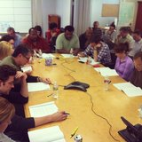 Rainn Wilson captured the mood at The Office's table read. Source: Instagram user rainnwilson