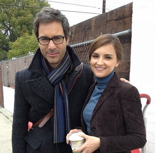Eric McCormack and Rachael Leigh Cook filmed a scene for Perception. Source: Twitter user EricMcCormack