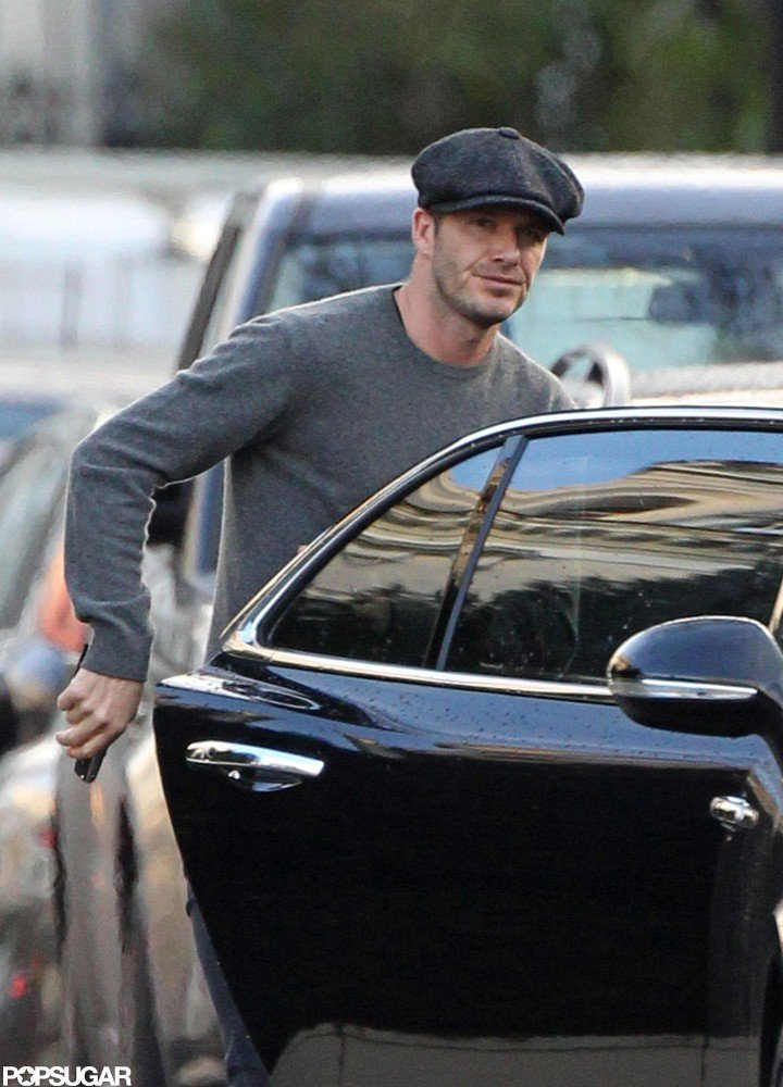David Beckham wore a hat around London.