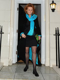 Sarah Ferguson wore a blue scarf out in London.