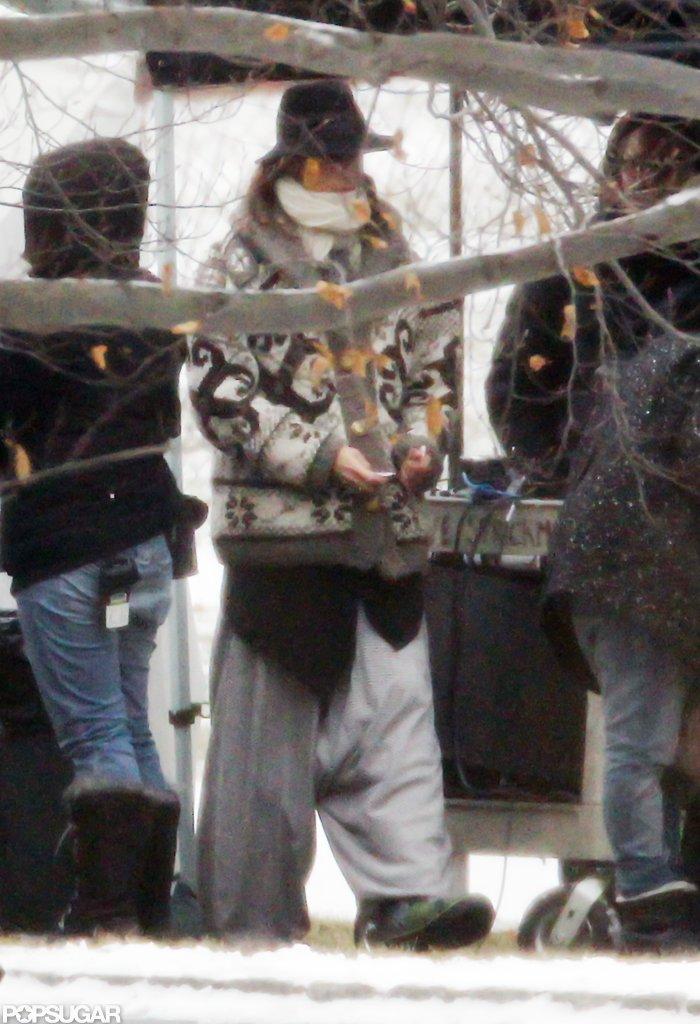 Jennifer Aniston bundled up on set in Greenwich, CT.