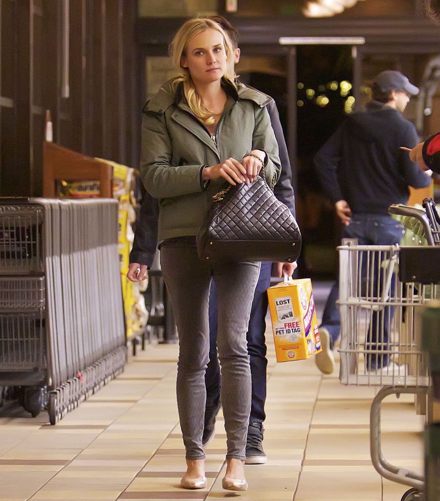 While shopping for groceries in LA, Diane Kruger topped her laid-back ensemble — Current/Elliott jeans, nude flats, and Chanel bag — with this puffy Rag & Bone jacket ($695).