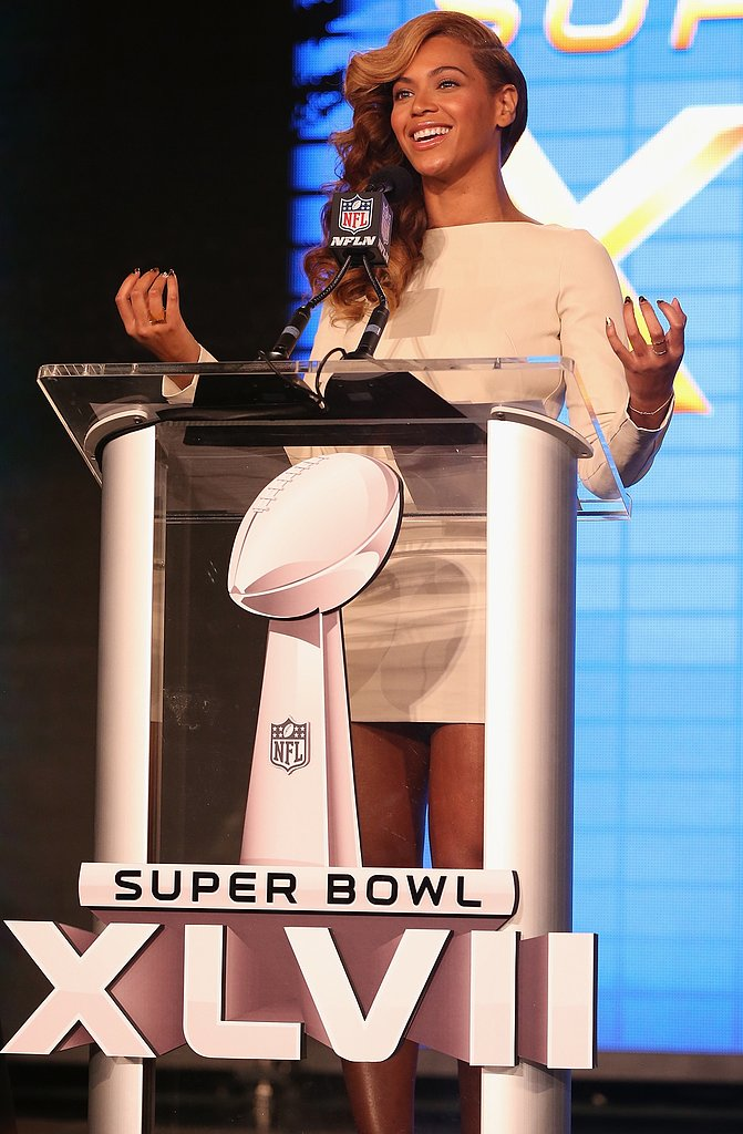 At the Super Bowl press conference, Beyoncé's white Olcay Gulsen dress wasn't the only thing that dazzled. Her two rings by Campbell — this gold plated baby V ring ($160) and this double stack ring ($315) — also shined bright that night.