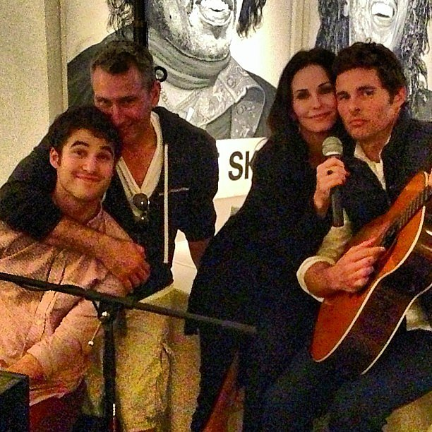 Courteney Cox, James Marsden, Darren Criss, and Adam Shankman partied together after the Super Bowl. Source: Instagram user adamshankman